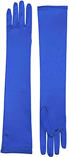 Adult Dark Royal Blue Elbow Length Princess Costume Long Satin Dress Gloves (Dark Princess Costume)