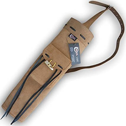 CAROL TRADITIONAL LEATHER BACK ARROW QUIVER AQ157S BROWN