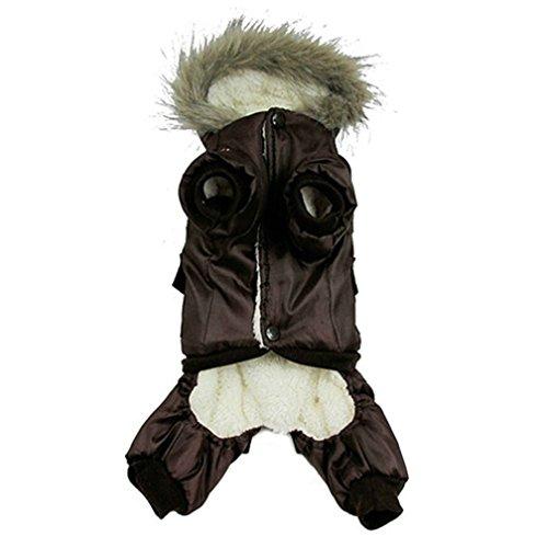 Alcyoneus pequeña gran mascota perro ropa de mono cálido de invierno chaqueta con capucha chaqueta con cachorro marrón café extra-large café
