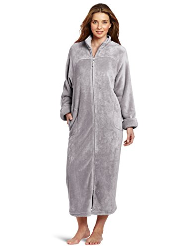 Casual Moments Women's 52 Inch Zip Front Robe, Gray, X-Large