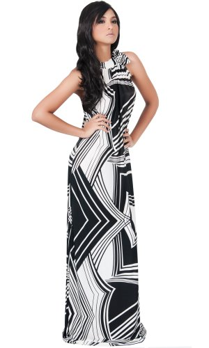 Koh Koh Long Summer Slimming Sleeveless Stunning Graphic Print Evening Cocktail Party Maxi Dress - X-Large - Black & Off-White
