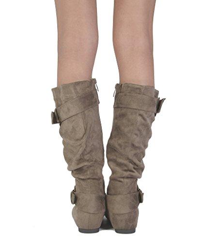 TRAUM-PAAR-Frauen Kniehohe niedrige versteckte Keilstiefel (breites Kalb verfügbar) Ura-taupe Wildleder