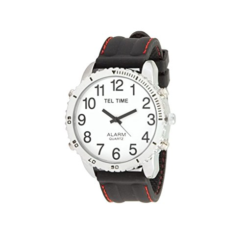 White Rubber Dial - Large Dial Chrome Talking Vibrating Watch with Black Rubber Band