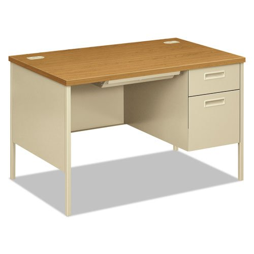 HON Metro Classic Single-Pedestal Desk, Harvest/Putty