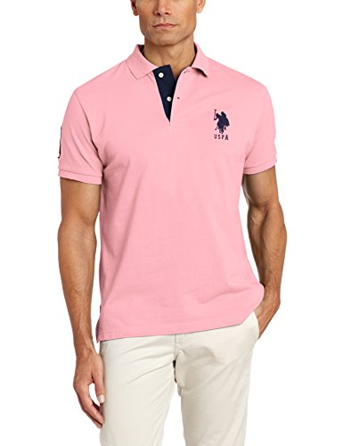 U.S. Polo Assn. Men's Slim Fit Solid Pique Polo Shirt, Mystic Pink, Large (Solid Polo Mens Pique)