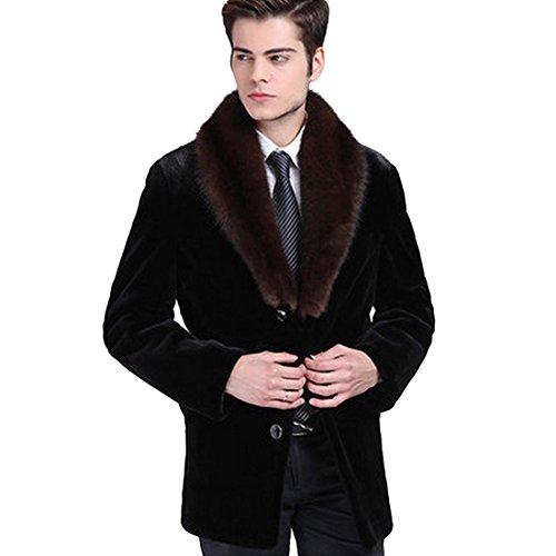 JTENGYAO Men's Faux Mink Fur Coat Lapel Overcoat Outerwear Business Fur Coat Winter Jacket
