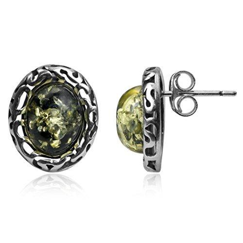 Sterling Silver Green Amber Oval Stud Earrings Amber by Graciana 41463eg