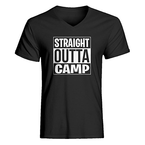 Indica Plateau Vneck Straight Outta Camp Medium Charcoal Grey T-Shirt -
