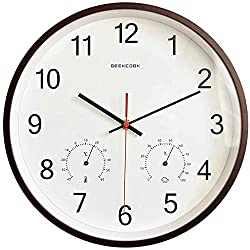 LSLMCS Wooden Round Hang Clock Radio Controlled Wall Clock with Temperature Humidity 12 Inch Non-Ticking Silent Wall Clock-Suitable for Indoor and Outdoor Use Quartz Clock