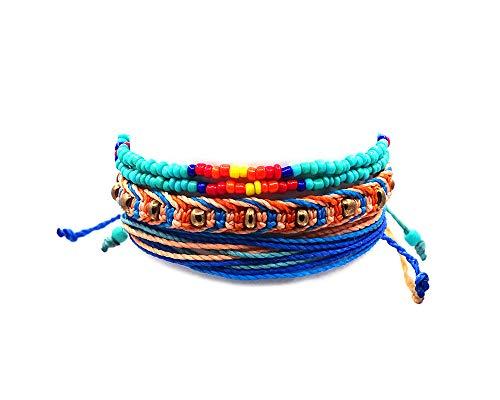 Native American Inspired Tribal Seed Bead Bracelet Gold Beaded Macramé Bracelet Multi Strand String Bracelet Multicolored Layered Stackable 3 PC Pull Tie Jewelry Set - Bracelets Indian Men Beaded For
