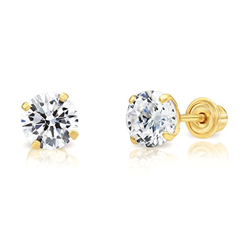 14k Yellow Gold Cubic Zirconia Stud Earrings with Screw Backs (5mm) ()
