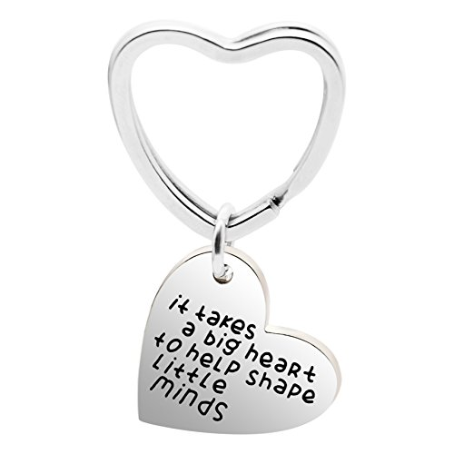 lauhonmin Graduation Teacher Gift Key Chain It Takes a Big Heart to Help Shape Little Minds Charm Pendant