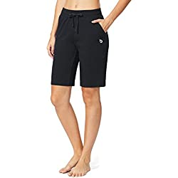 Baleaf Women's Active Yoga Lounge Bermuda Shorts with Pockets Black Size L