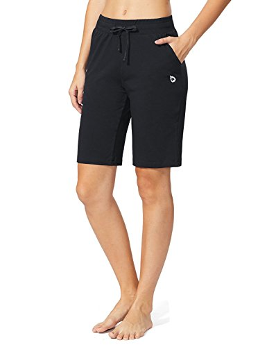 Baleaf Women's Active Yoga Lounge Bermuda Shorts with Pockets Black Size (Womens Cotton Bermuda Shorts)
