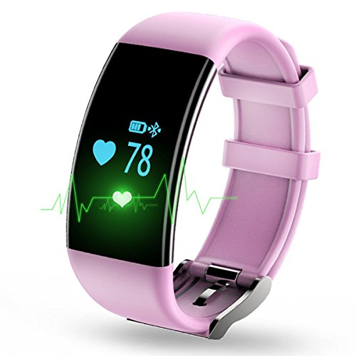 KASSICA Fitness Tracker Step Walking Distance Calorie Counter Bluetooth Smart Bracelet Activity Wristband with Heart Rate Monitor for IOS Android Devieces Samsung/iPhone - Pink