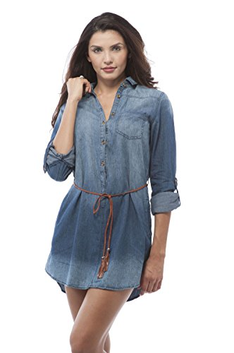Belted Denim Shirt Dress (3/4 roll up sleeve denim belted shirt dress (Large, MediumBlue ))