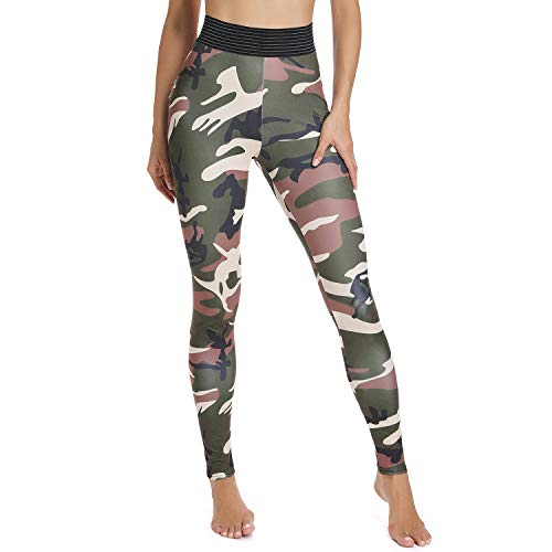 FITTOO Women's High Waisted Butt Scrunch Leggings Camouflage Print Ruched Yoga Pants Push up Booty Tights S ()