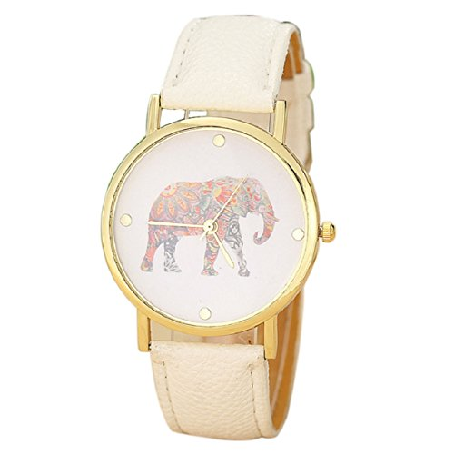 Sandistore Women Elephant Printing Pattern Weaved Leather Quartz Dial Watch