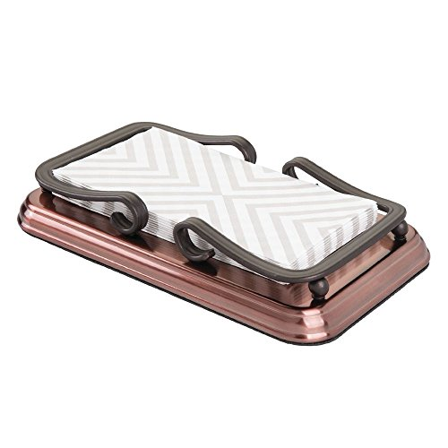 mDesign Decorative Guest Disposable Paper Hand Towel Storage Tray Dispenser, Sturdy Holder with Non-Skid Base and Scroll Design for Bathroom Vanity Countertops - Steel, Bronze Finish