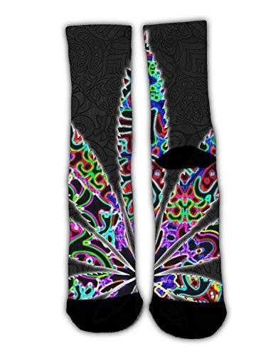 (RWFANCY Unisex Trippy Marijuana Leaf Weed Crew Casual Socks Slipper Socks Stockings Colorful Warm Winter Socks for Christmas Holiday New Year)