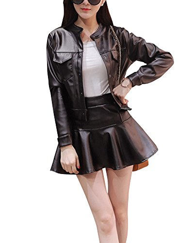 PU Cuero Piezas Chaqueta Falda Manga Negro Mini Outwear Mujer Set 2 Top Larga dqH4dA