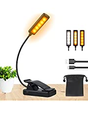 LED Book Light for Reading - Deaunbr 9 LEDs Amber Clip On Book Lights, USB Rechargeable Eye Protection Bed Lamp, 9 Brightness Levels Portable Clamp Lamps for Reading in Bed at Night - Black