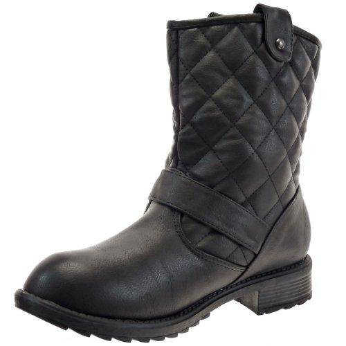 Kickly - Chaussure Mode Bottine Botte Cavalier - Motard - Western cheville femmes matelassé Talon bloc 3.5 CM - Intérieur Fourrée - Noir/Argent