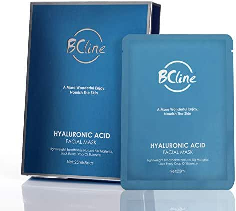 Hyaluronic Acid Serum Full Face Mask Highest Quality Anti-Aging Super Hydration Skin-Care Silk Facial Mask 5 Pack by Brooke & Celine