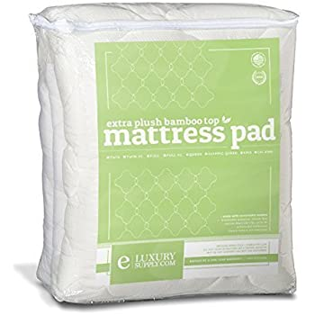ExceptionalSheets Rayon Derived from Bamboo Mattress Pad with Fitted Skirt - Extra Plush Cooling Topper - Hypoallergenic - Made in The USA, California King