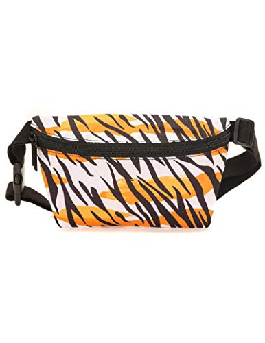 FYDELITY Ultra-Slim Fanny Pack Belt Bag -80's Eye of the Tiger Eighties 1980 Retro |For Fashion Accessories/Small Waist Pouch/Hip Sack/Bumbag/Belly (Tiger Cotton Belt)