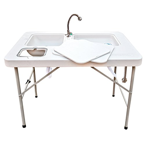 Outdoor Washing Table and Sink, Ultimate Utility Work Station with Removable Faucet for Cleaning Fish or Game, Foldable Camp Table with Sink - Coldcreek - Cleaning Station