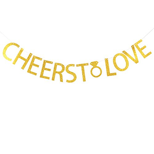 Cheers to love banner gold glitter banner for birthday ,engagement party decoration -