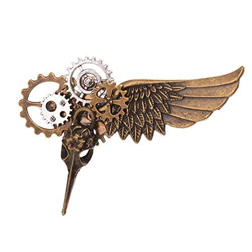 GRACEART Steampunk Plague Bird Wings Gears Brooch (Pin Lapel Steampunk)