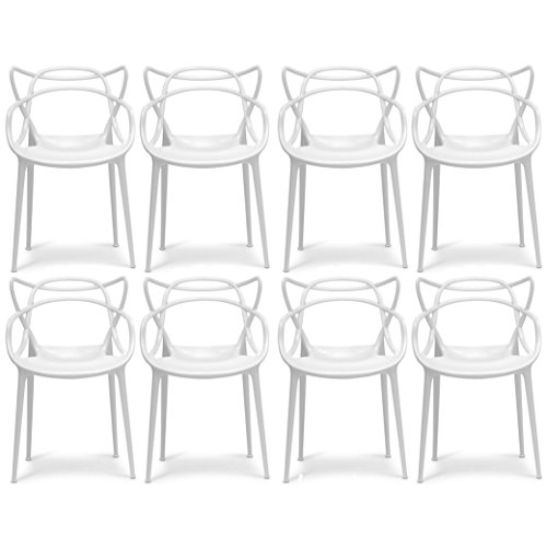 2xhome Set of 8 White Dining Room Chairs - Modern Contemporary Designer Designed Popular Home Office Work Indoor Outdoor Armchair Living Family Room Kitchen - Emeco Hudson Chair