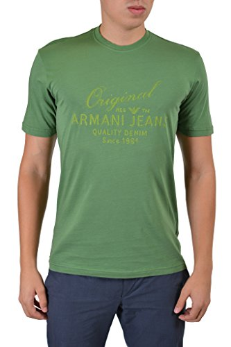 Armani Jeans Men's Green Graphic Crewneck Short Sleeve T-Shirt US L IT 52; (Armani Jeans Short Sleeve T-shirt)