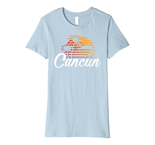 Womens Cancun Mexico Beach Palm Tree T Shirt Party Destination Gift Small Baby Blue