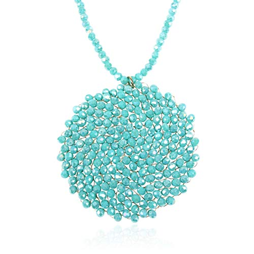 RIAH FASHION Bohemian Pendant Beaded Long Statement Necklace - Sparkly Crystal Bead Boho Braided Disc Wired Round Circle Charm (Round - Turquoise)
