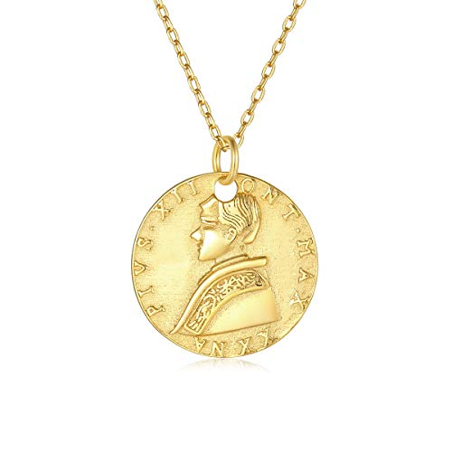 VACRONA Gold Disc Coin Pendant Necklaces,18K Gold Filled Dainty Handmade PIVS XII Round Commemorative Coin Vintage Necklaces Jewelry for Women