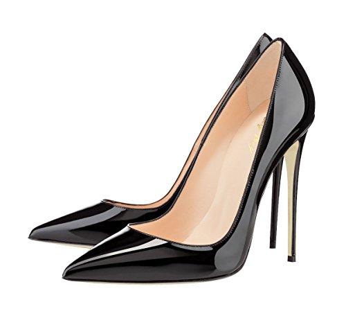 punta vestido en altos Toe fiesta Pumps Negro de tacón de tacones de de para SexyPrey de mujeres grande las corte Zapatos Tamaño aguja qHw7gH