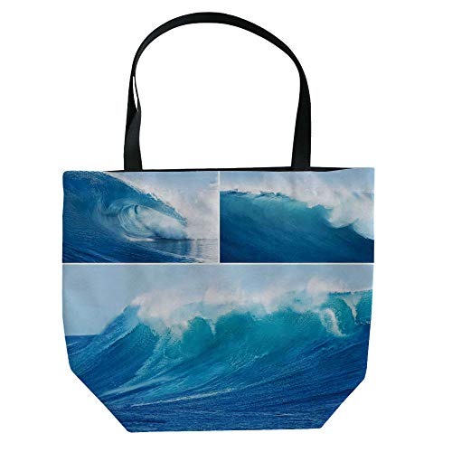 iPrint Hand Canvas Bag Shoulder Bag,Surf,Collage of Giant Sea Wave Photos Refreshing Diving and Surfing Lifestyle Leisure Concept Art,Blue,3D Print Design.