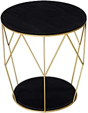 """HOMCOM 18"""" Modern Round Sofa End Table, Wood Top Coffee Side Table with Gold Metal Frame, Accent Bedside Table for Living Room, Bedroom, Black and Gold"""