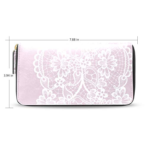 ANINILY Floral Lace Decoration Wallet Zipper Around Long Clutch Purse Wristlet Handbag Shopping Travel