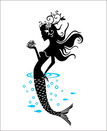 DNVEN Black 16 inches x 32 inches Mermaid Bathroom Ocean Under The Sea Mermaid Girl Removable Handmade Wall Decals Stickers Princess Mermaid Peel and Stick Wall Decals Mirror
