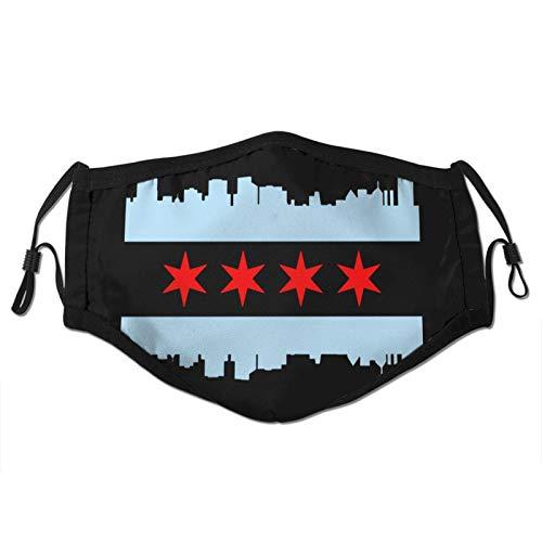 Chicago Flag Skyline Men Womans Dust Masks Outdoor Adjustable Earrings Face Mask Reusable with More Filter Black