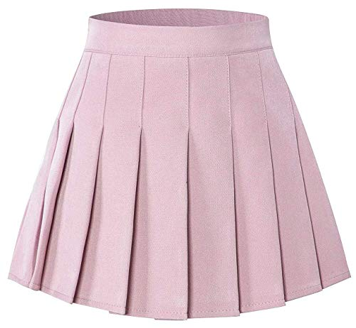 Toddler Little & Big Girls' Solid Plain Short Pleated School Uniform Cosplay Costume Skirt, Pink, 6-7 Years/Height 51.2