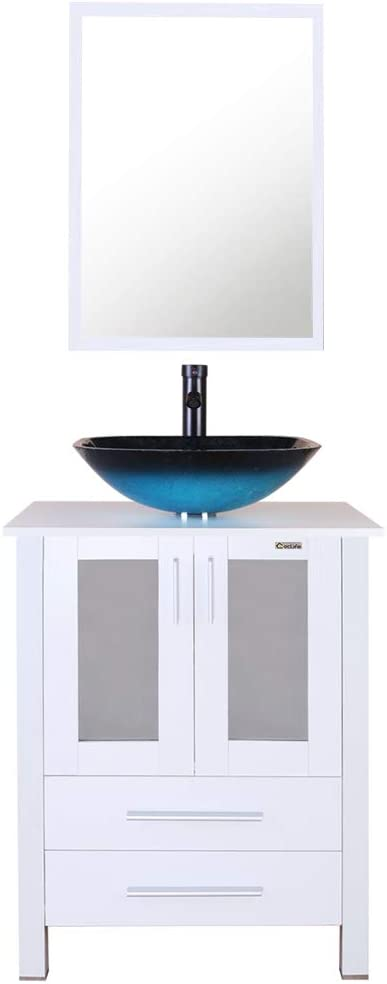 eclife 24 Bathroom Vanity and Sink Combo White Small Vanity Turquoise Square Tempered Glass Vessel Sink 1.5 GPM Water Save Faucet Solid Brass Pop Up Drain, With Mirror A10B02W
