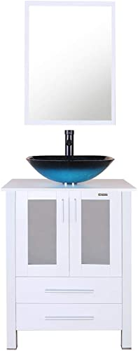 eclife 24″ Bathroom Vanity and Sink Combo White Small Vanity Turquoise Square Tempered Glass Vessel Sink 1.5 GPM Water Save Faucet Solid Brass Pop Up Drain