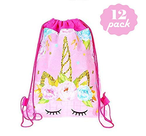 Unicorn Gift Bags Unicorn Party Favors Drawstring Bag for Kids Birthday Party,Unicorn Party Supplies and Baby Shower Pack of 12
