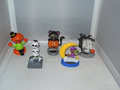 Solar-Powered Moving Dancing Halloween Mosters Bundle (Pumpkin, Skull, Black Cat, Witch, Ghost)]()