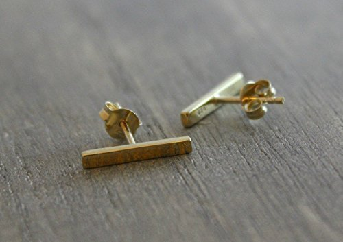 Minimalist Gold Plated 925 Sterling Silver Stick Stud Linear Bar Earrings Posts Bridal Bridesmaid Wedding Jewelry (Post Jewelry Wedding)